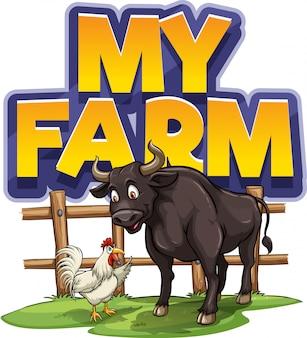 Projeto de fonte para a palavra minha fazenda com frango e búfalo