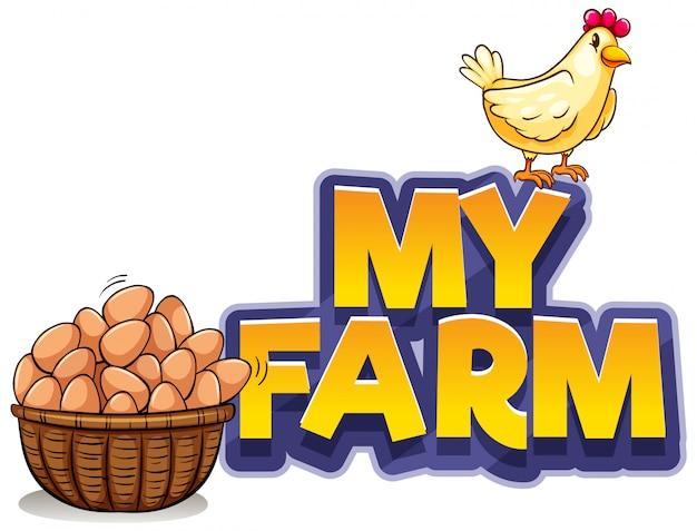 Projeto de fonte para a palavra minha fazenda com frango e ovos