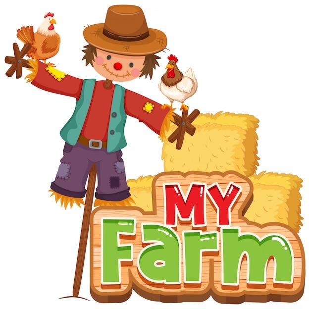 Projeto de fonte para a palavra minha fazenda com galinhas e espantalho