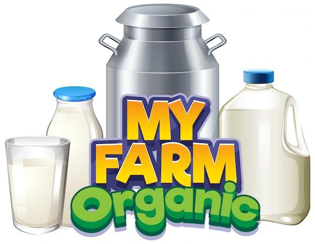 Projeto de fonte para a palavra minha fazenda com leite fresco em diferentes recipientes