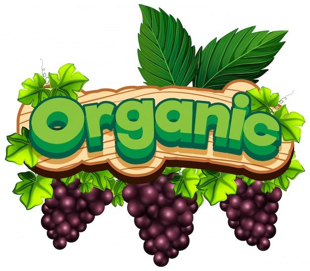 Projeto de fonte para a palavra orgânica com uvas frescas