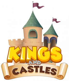 Projeto de fonte para a palavra reis e castelos no fundo branco