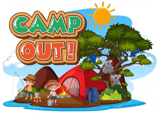 Projeto de fonte para acampamento com barraca no parque