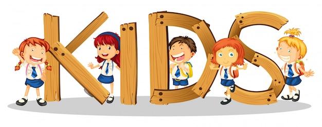 Projeto de fonte para crianças de palavra