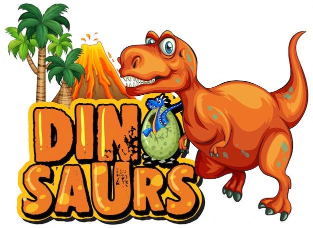Projeto de fonte para dinossauros de palavra com t-rex e vulcão