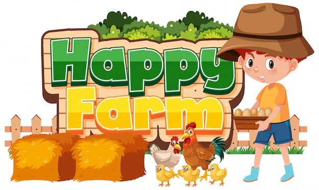 Projeto de fonte para fazenda feliz com menino e frango