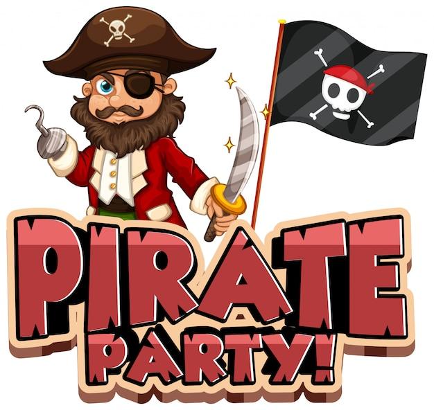 Projeto de fonte para festa de palavra pirata com pirata e bandeira
