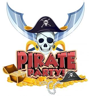 Projeto de fonte para festa de palavra pirata com pirata e ouro