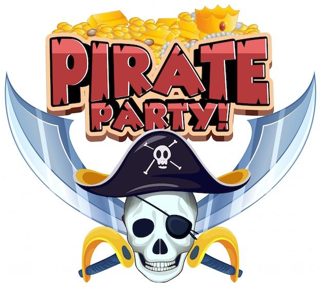 Projeto de fonte para festa de pirata de palavra com caveira e moedas de ouro