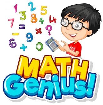 Projeto de fonte para gênio da matemática com menino e números