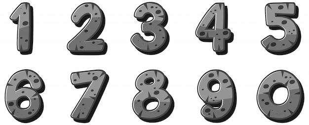 Projeto de fonte para números de um a zero no fundo branco