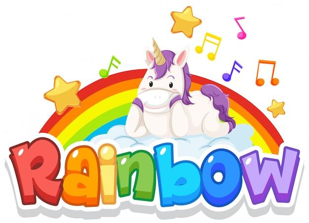 Projeto de fonte para o arco-íris da palavra com arco-íris no fundo do céu
