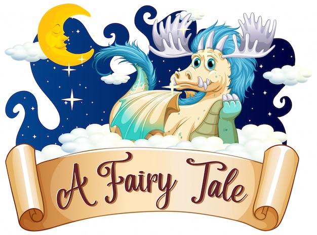 Projeto de fonte para o conto de fadas da palavra com dragão no céu