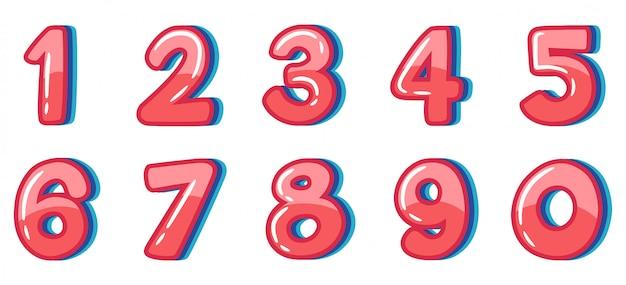 Projeto de fonte para o número um a zero no fundo branco