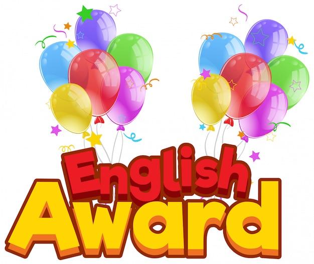 Projeto de fonte para o prêmio de inglês com balões coloridos