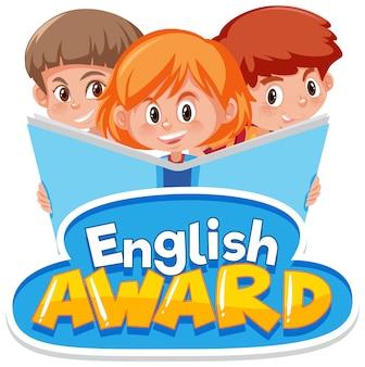 Projeto de fonte para o prêmio de inglês com três crianças lendo um livro grande