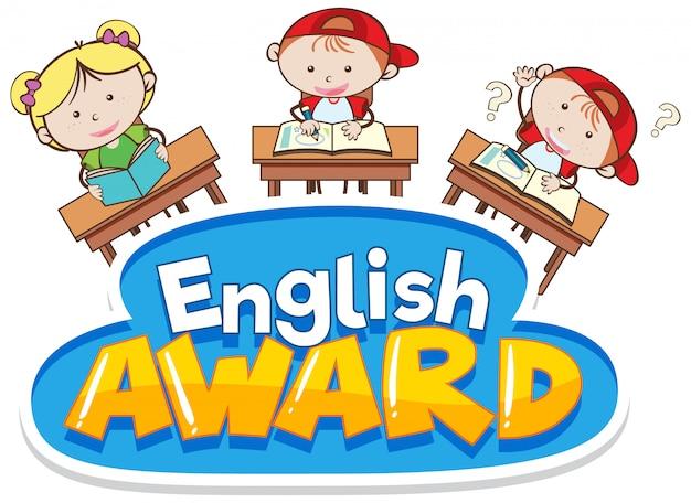 Projeto de fonte para o prêmio de palavra inglês com crianças na sala de aula