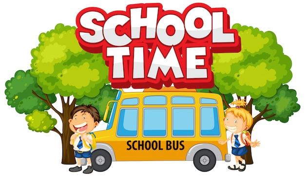 Projeto de fonte para o tempo da escola palavra com meninos felizes