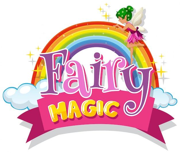 Projeto de fonte para palavra fada mágica com fada voando