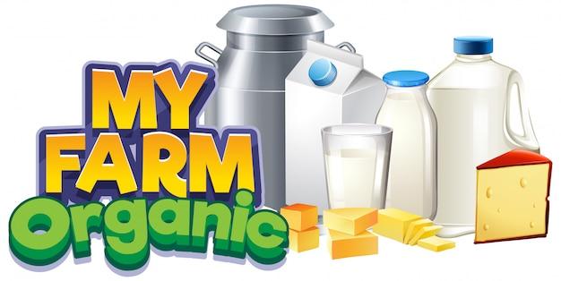 Projeto de fonte para palavra minha fazenda com produtos lácteos frescos