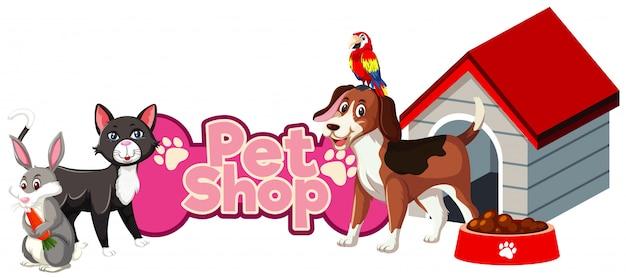 Projeto de fonte para pet shop com muitos animais fofos