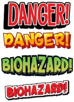 Projeto de fonte para risco biológico de palavra em cores diferentes