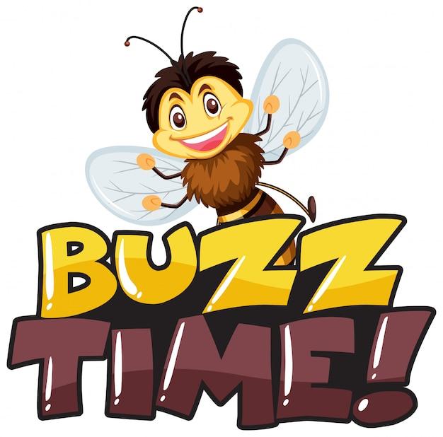Projeto de fonte para tempo de zumbido de palavra com abelha feliz sorrindo
