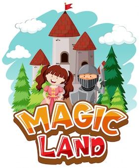 Projeto de fonte para terra mágica de palavra com princesa e cavaleiro