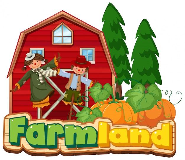 Projeto de fonte para terras agrícolas com espantalhos e celeiro vermelho