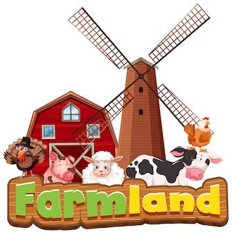 Projeto de fonte para terras agrícolas de palavra com animais da fazenda