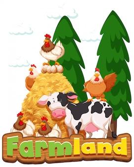 Projeto de fonte para terras agrícolas de palavra com galinhas e vaca