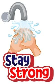 Projeto de fonte stay strong com propagação de vírus por apertar as mãos em fundo branco