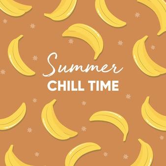 Projeto de frutas com slogan de tipografia de tempo frio de verão e bananas frescas no fundo da testa.
