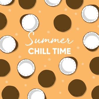 Projeto de frutas com slogan de tipografia de tempo frio de verão e coco fresco em fundo laranja claro.