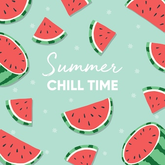 Projeto de frutas com slogan de tipografia de tempo frio de verão e melancia sobre fundo verde claro.