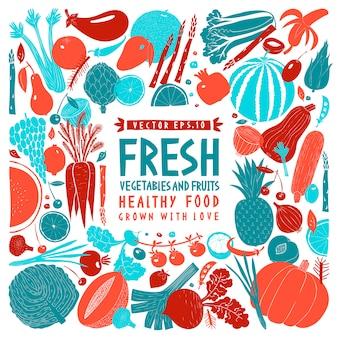 Projeto de frutas legumes desenhos animados mão desenhada. fundo de alimentos. estilo linogravura. comida saudável.