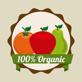 Projeto de frutas sobre ilustração vetorial de fundo bege