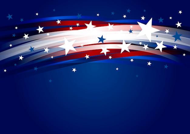 Projeto de fundo abstrato eua de gradiente de linha e estrela 4 de julho dia da independência