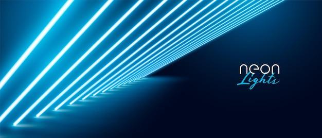 Projeto de fundo com efeito de luz neon azul