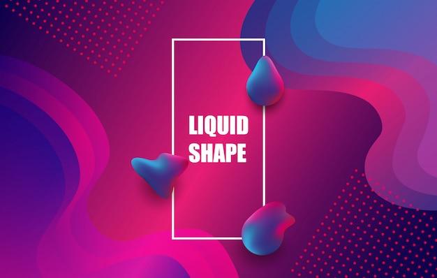 Projeto de fundo de cor líquida. composição de formas de gradiente fluido.