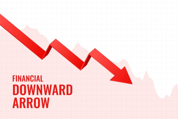 Projeto de fundo de tendência de seta para baixo de declínio financeiro