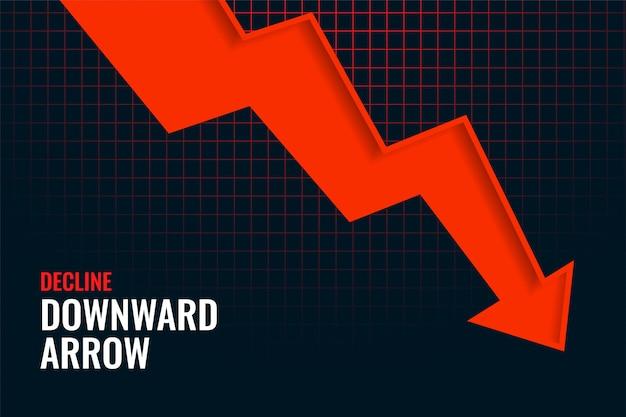 Projeto de fundo de tendência de seta para baixo em declínio de negócios