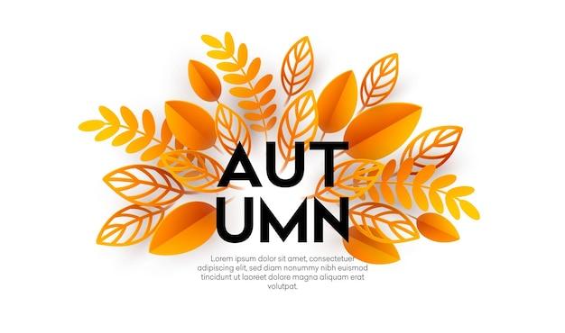 Projeto de fundo de venda de outono com folhas de outono de corte de papel colorido. ilustração vetorial eps10
