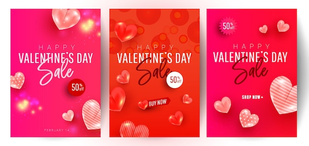 Projeto de fundo de venda lindo e elegante de dia dos namorados com decoração de formas de amor de ar em fundo vermelho com texto de saudação. promoção e modelo de compra