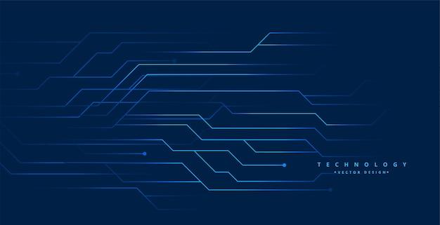 Projeto de fundo digital de linhas de circuito de tecnologia azul