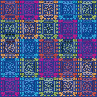 Projeto de fundo padrão de flores mexicanas.