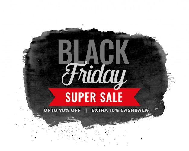 Projeto de fundo preto aquarela venda sexta-feira