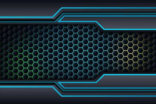 Projeto de fundo preto e azul, modelo de negócios corporativos de tecnologia.