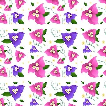 Projeto de fundo sem costura com flores de buganvílias