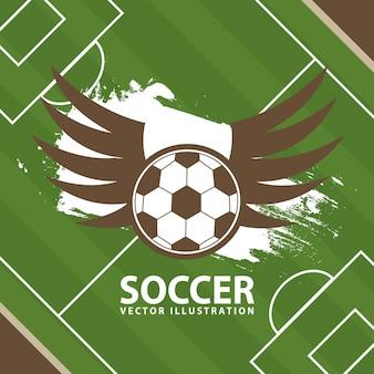 Projeto de futebol sobre fundo de campo